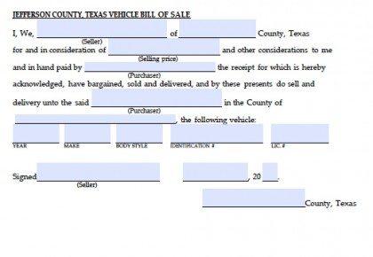Jefferson County, Texas Vehicle Bill of Sale