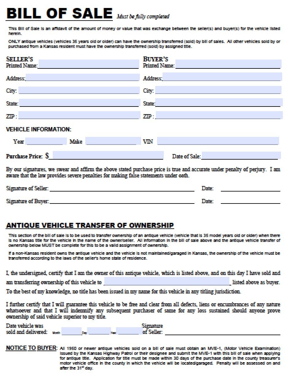 Bill Of Sale Kansas >> Free Kansas Dmv Vehicle Bill Of Sale Tr 12 Form Pdf Word Doc