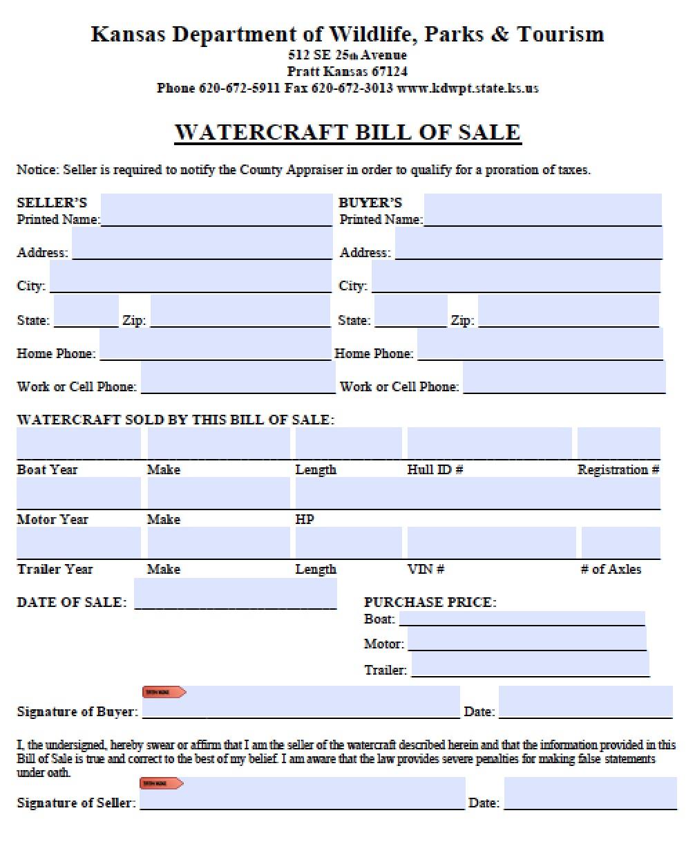 Bill Of Sale Kansas >> Free Kansas Boat Bill Of Sale Form Pdf Word Doc