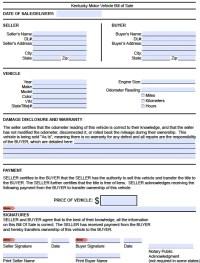 Free Kentucky DMV (Vehicle) Bill of Sale Form | PDF | Word ...