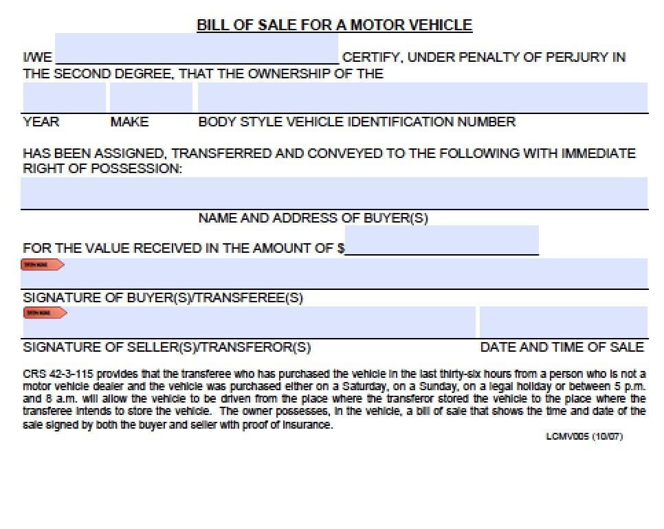 Colorado Vehicle Bill Of Sale