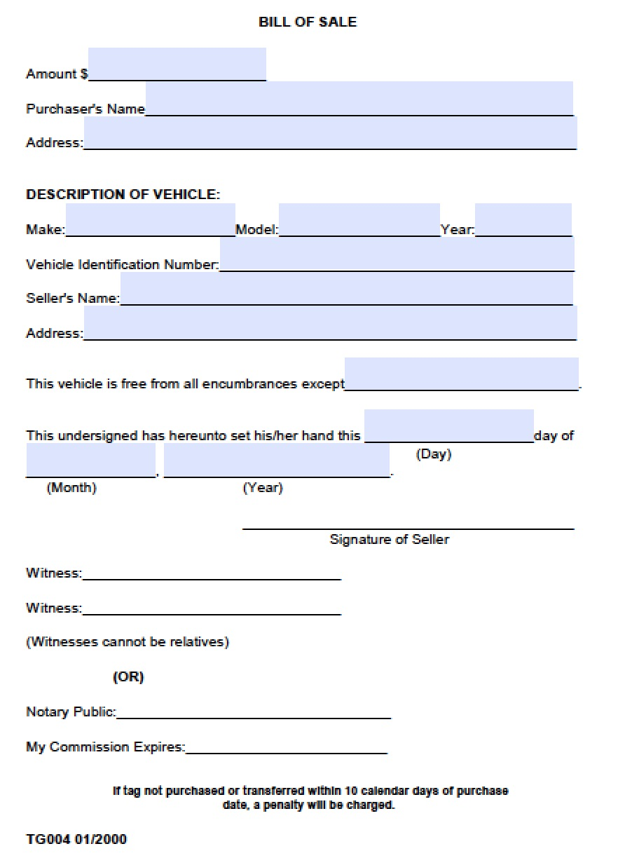Free Limestone County Alabama Vehicle Bill Of Sale Form Download Pdf Word Template