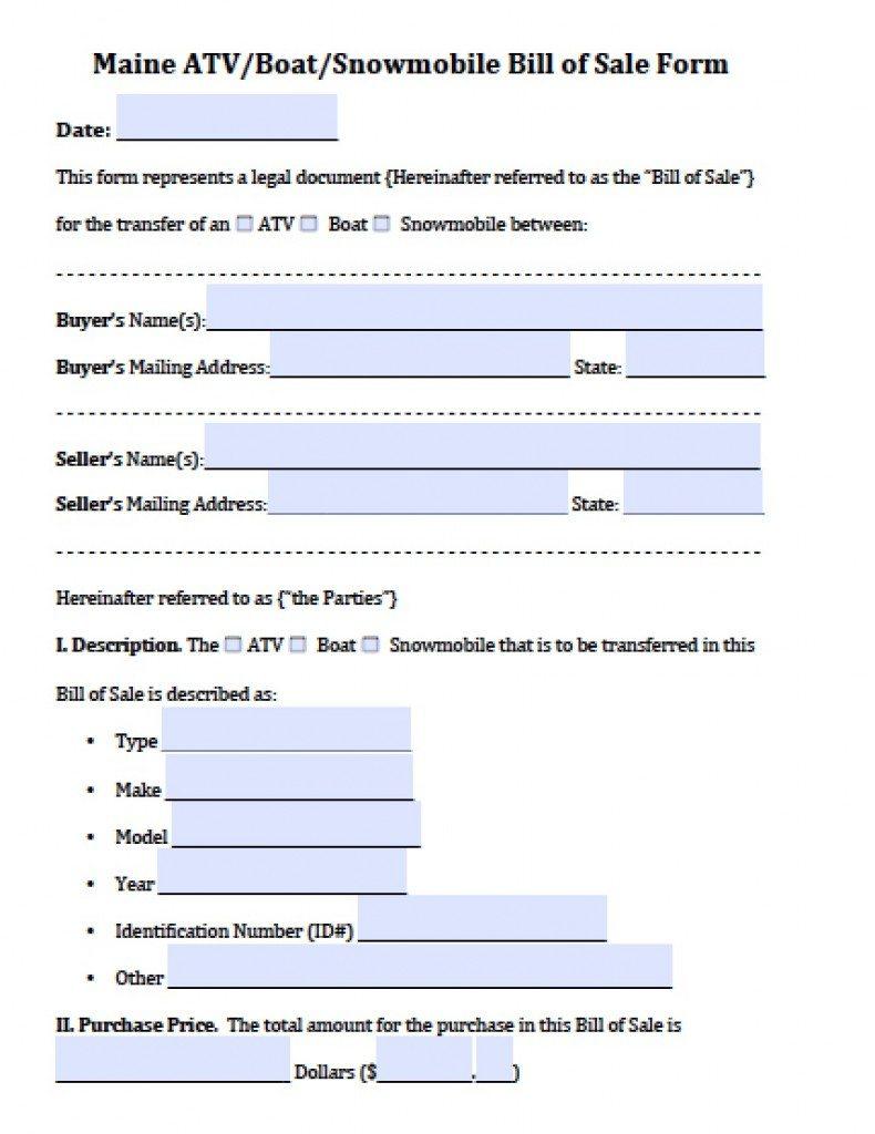 Free Maine Atv Boat Snowmobile Bill Of Sale Form Pdf