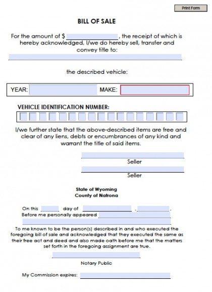 Free Natrona County, Wyoming Bill of Sale Form | PDF | Word