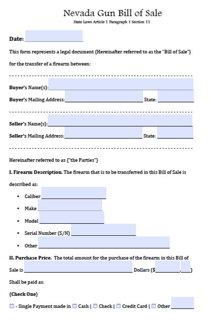 Nevada Dmv Bill Of Sale >> Free Nevada Firearm/Gun Bill of Sale Form | PDF | Word (.doc)