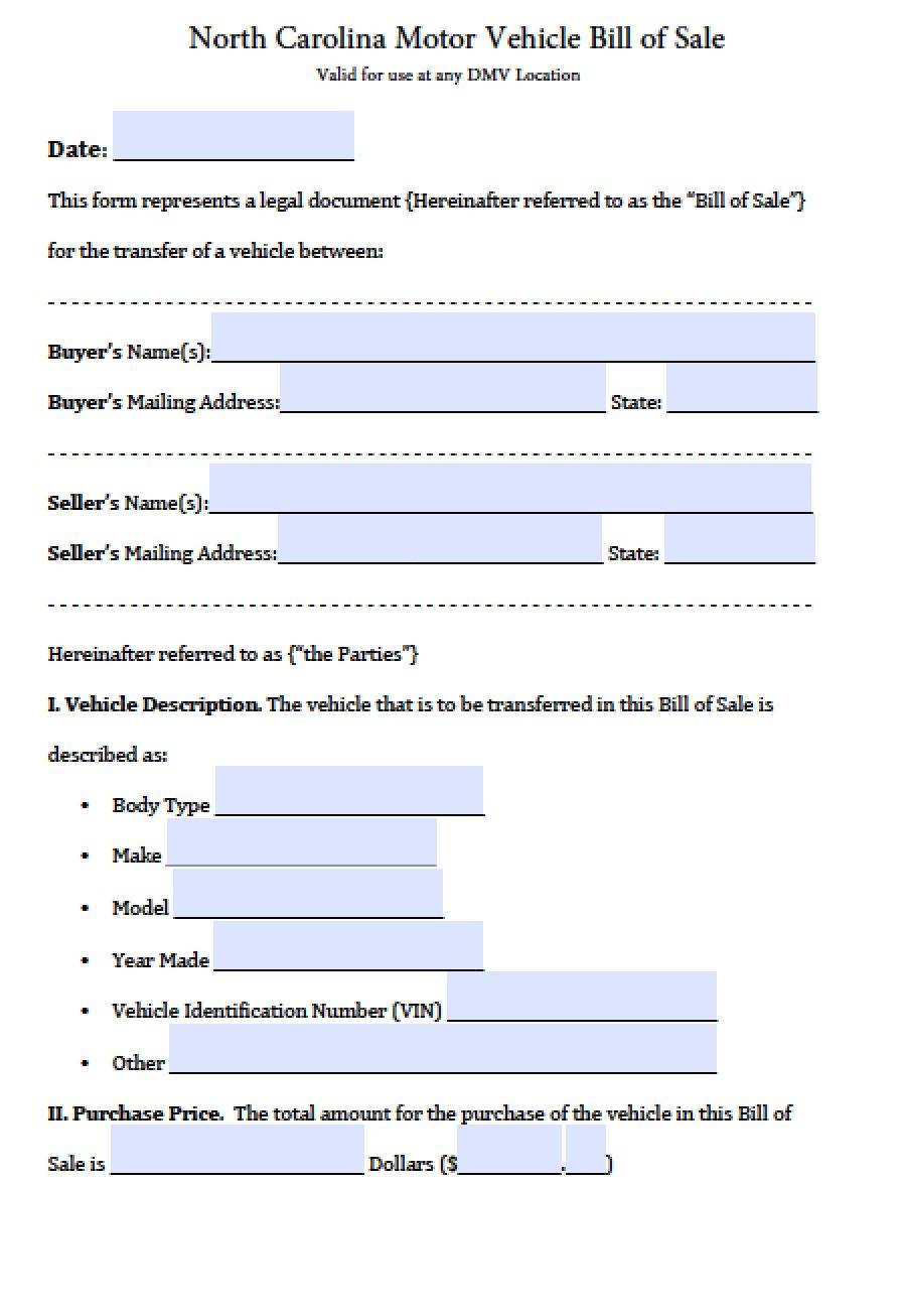Free North Carolina Dmv Vehicle Bill Of Sale Form Pdf Word Doc Bill of sale nc template