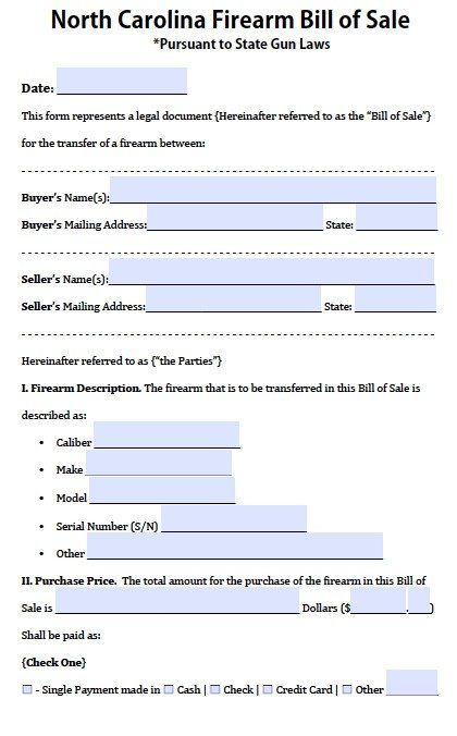 Free North Carolina Firearm Gun Bill Of Sale Form Pdf