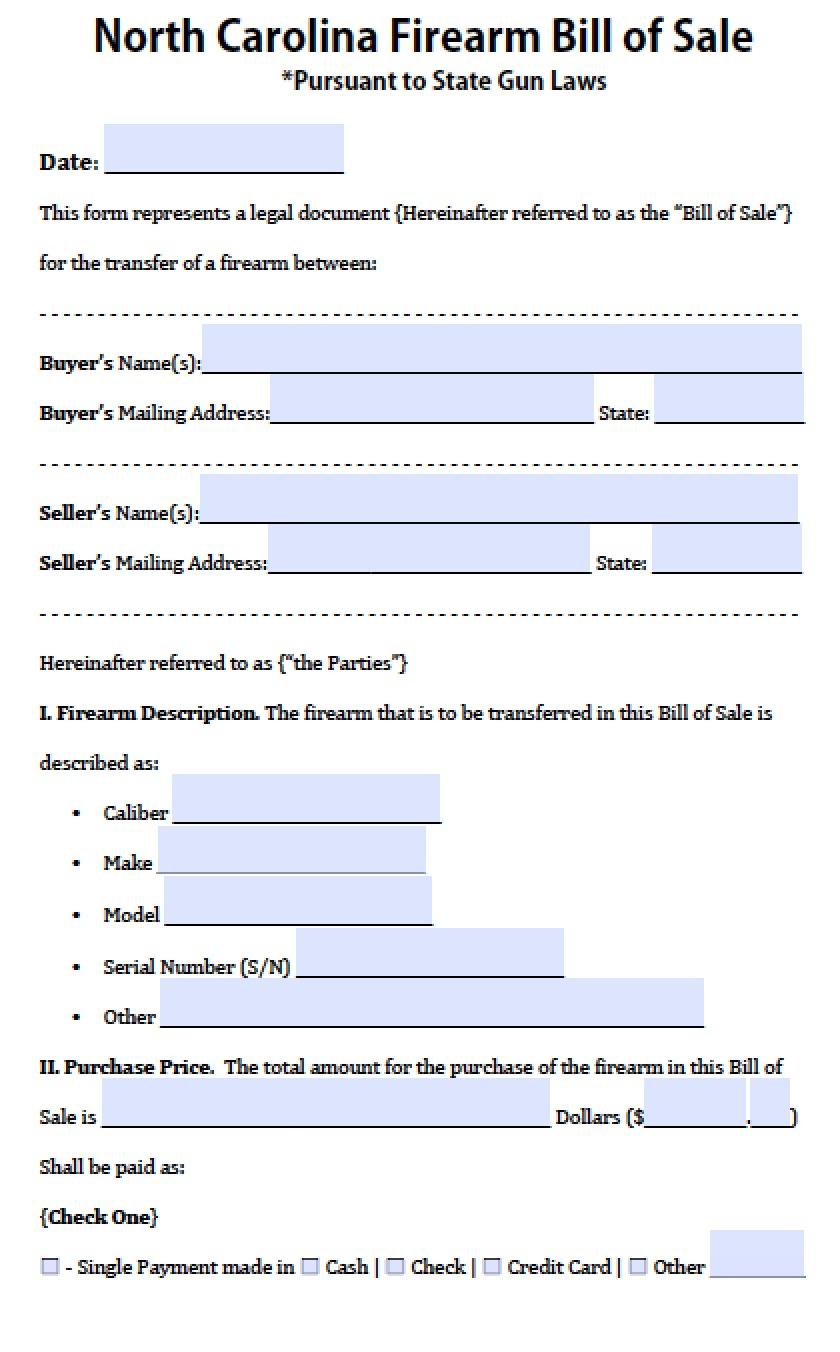 bill of sale form nc
