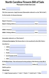 Free North Carolina Firearm Bill of Sale Form | PDF | Word ...