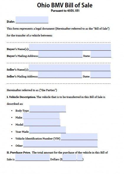 Free Ohio BMV (Vehicle) Bill of Sale Form | PDF | Word ( doc)