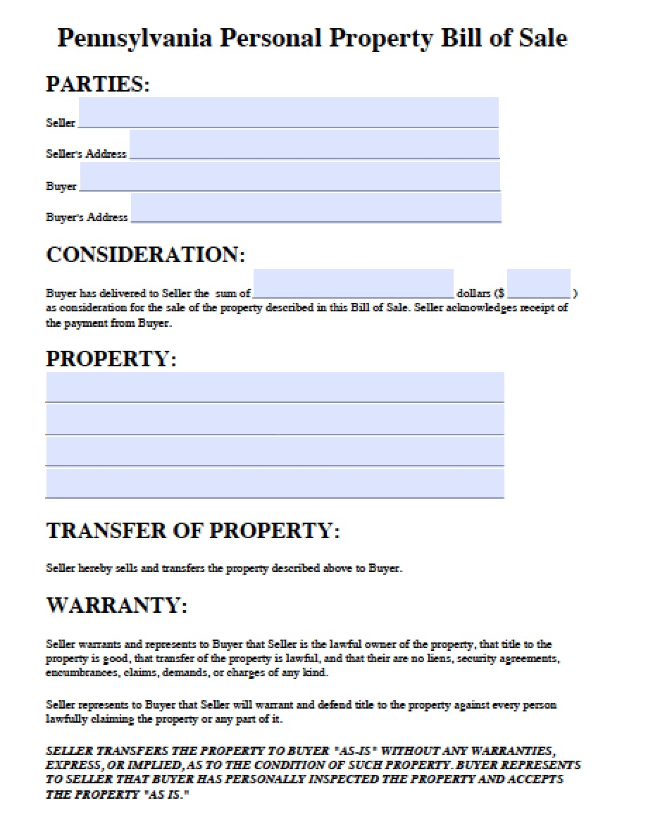 Free Pennsylvania Personal Property Bill Of Sale Form