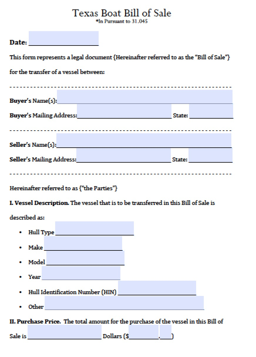 free texas boat bill of sale form