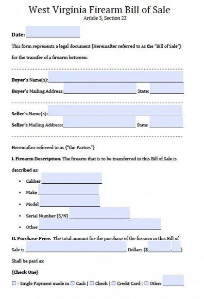 Bill Of Sale Virginia >> Free West Virginia Firearm Gun Bill Of Sale Form Pdf Word Doc