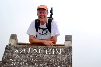The old sign at the top of Baxter Peak