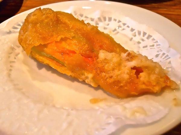 Courgette/zucchini flower and mozzarella