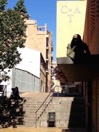 A sculpture of Anne Frank in Gràcia, Barcelona