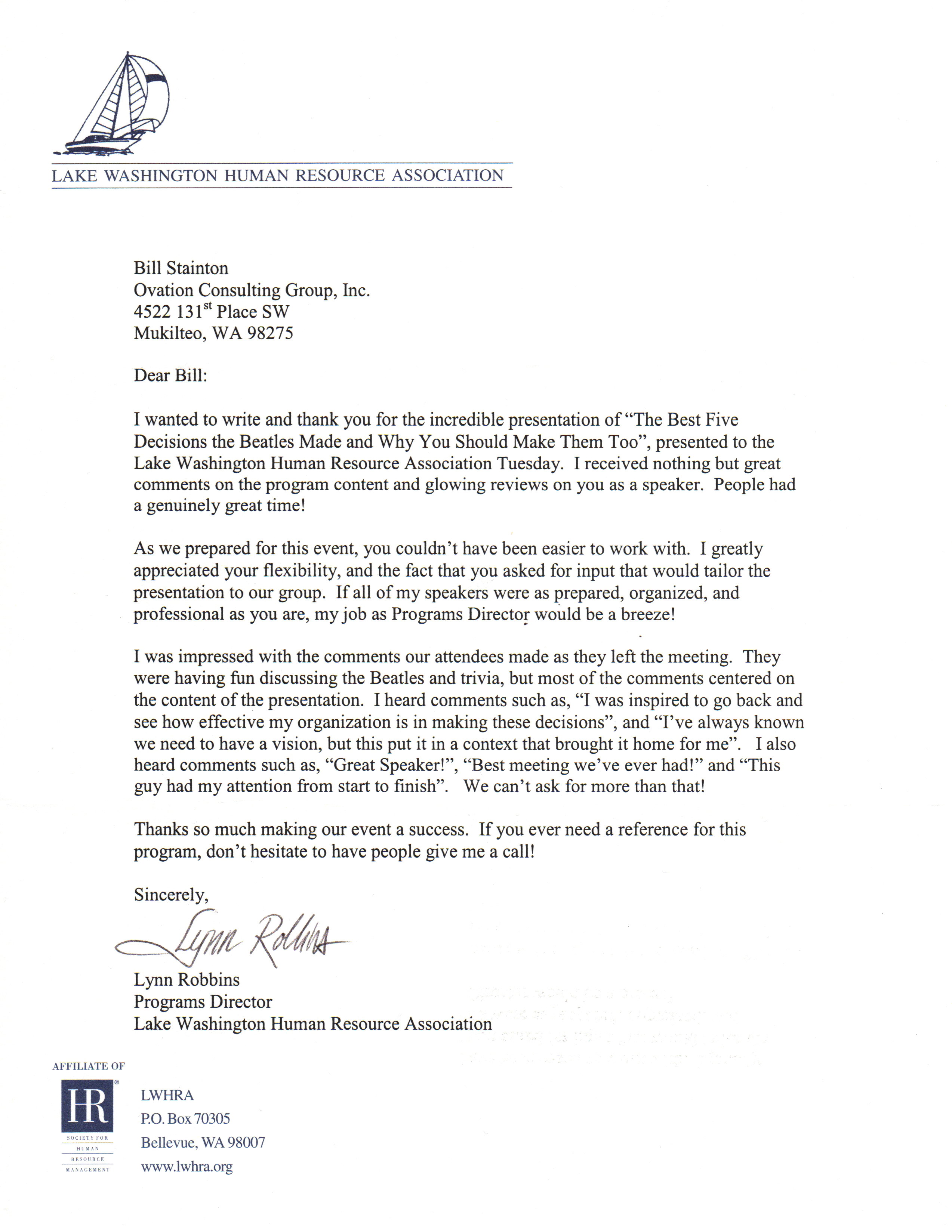 Lk WA Human Resources Testimonial Letter The Executive