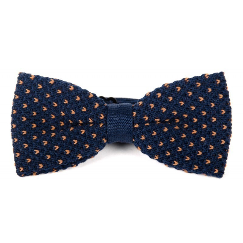 Navy and camel cotton knit bow tie