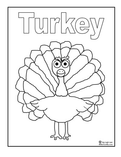 Easy Turkey Coloring Pages