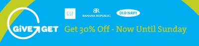 30% off at Gap, Banana Republic and Old Navy through Sunday