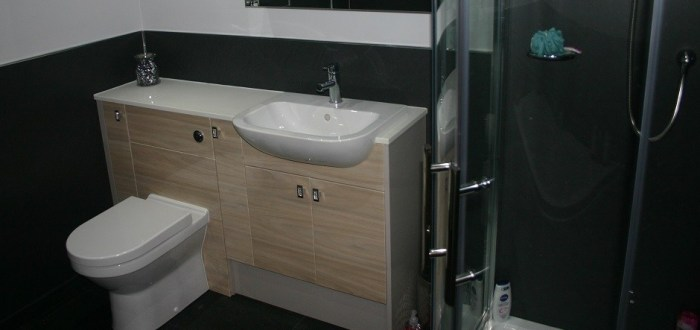 image for Bathroom Design, Supply And Installation Of The Urban Gloss Elm  range. By Billy Walker Joinery Services Ltd, Fraserburgh, Aberdeenshire.