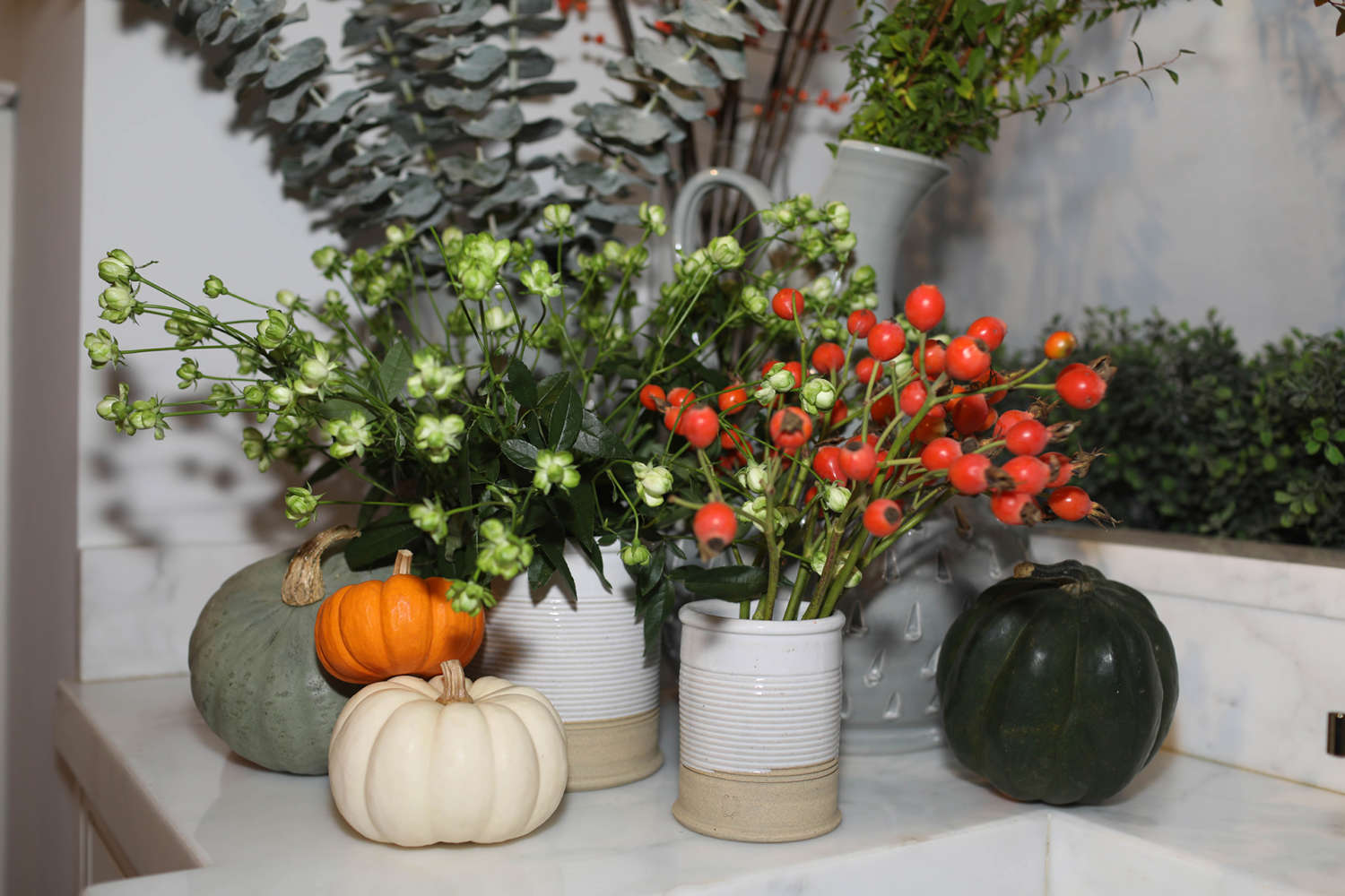 Pumpkin and bittersweet arrangement.