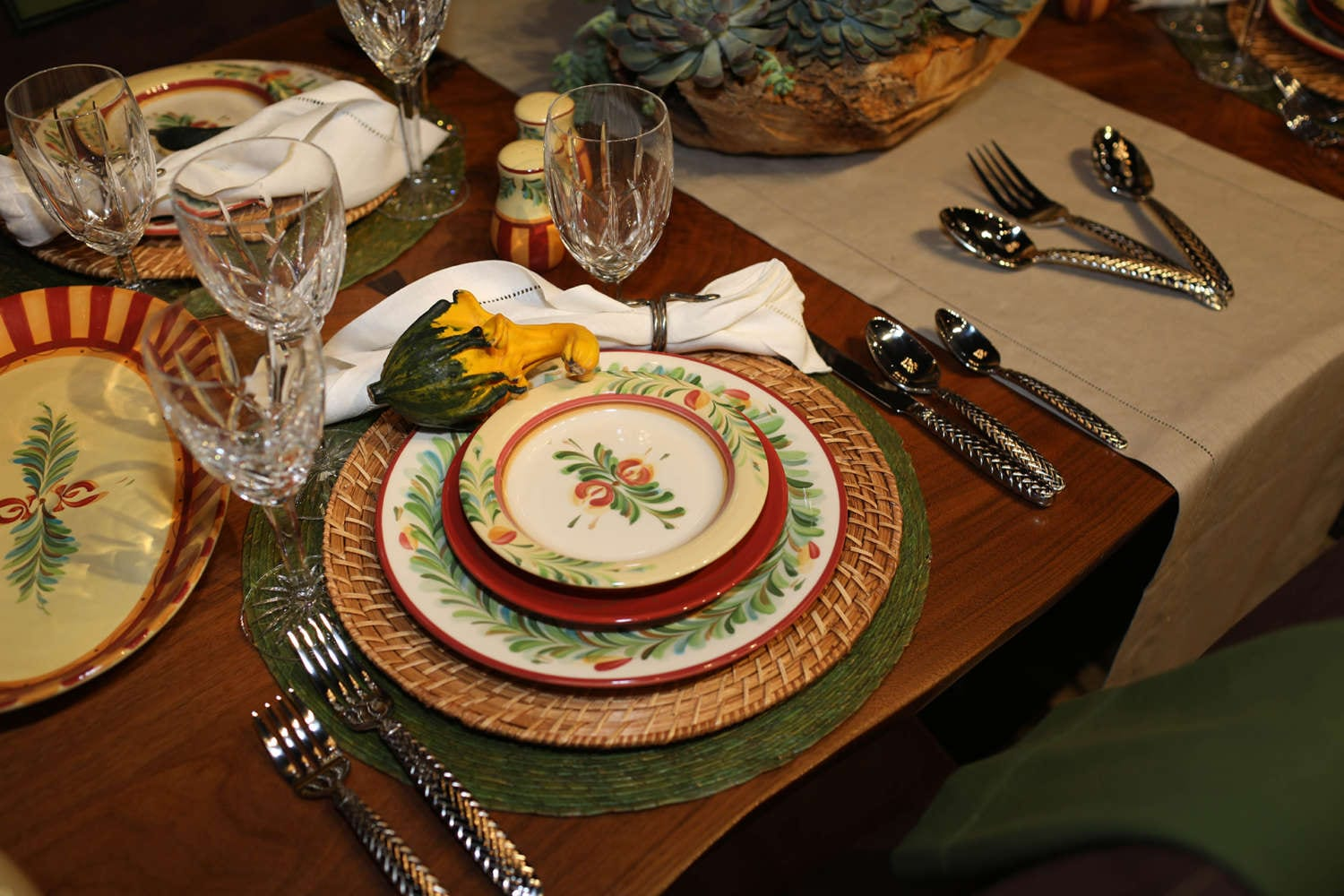 Fall gourd and rustic china place settings at Art of The Table.