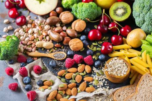 Healthy snacking - nuts, fruits and veggies