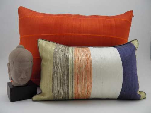Bayadere Cushion Cover 45x27cm + Raw Silk Cushion Cover - Orange - 70x50cm