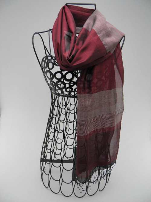 Burgundy Scarf – Silver Stripes – Essential