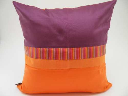 Coussin Charmant - Aubergine / Orange - 45x45cm