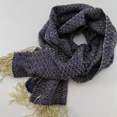 Romduol - Raw Silk Scarf - Navy Blue