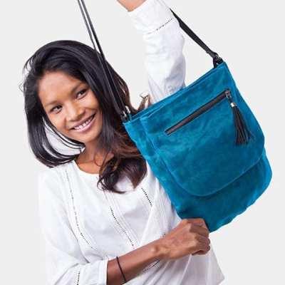 Away - Ethical Crossbody Bag - Oil Blue