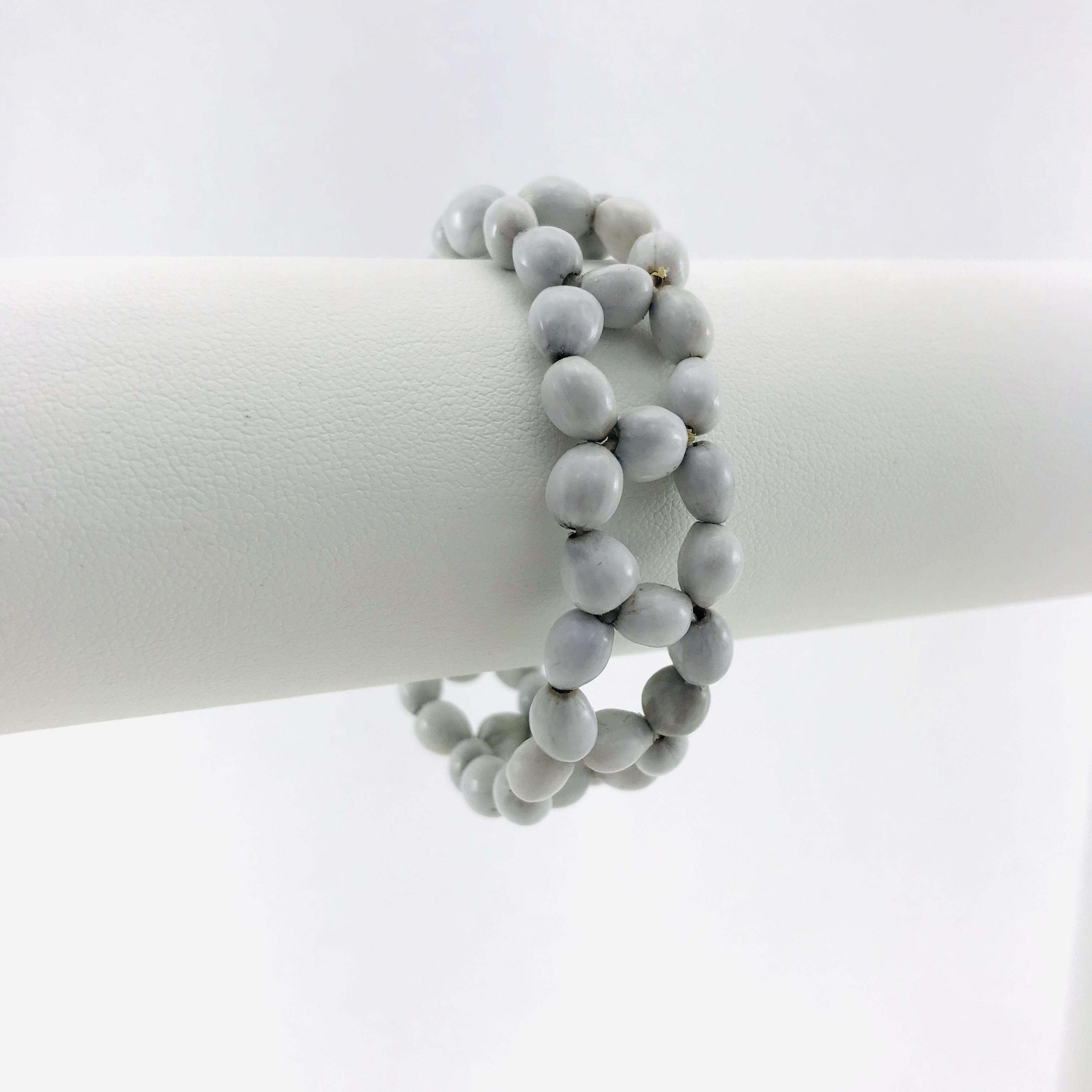 Le Fleur - Bracelet graines naturelles - Blanc