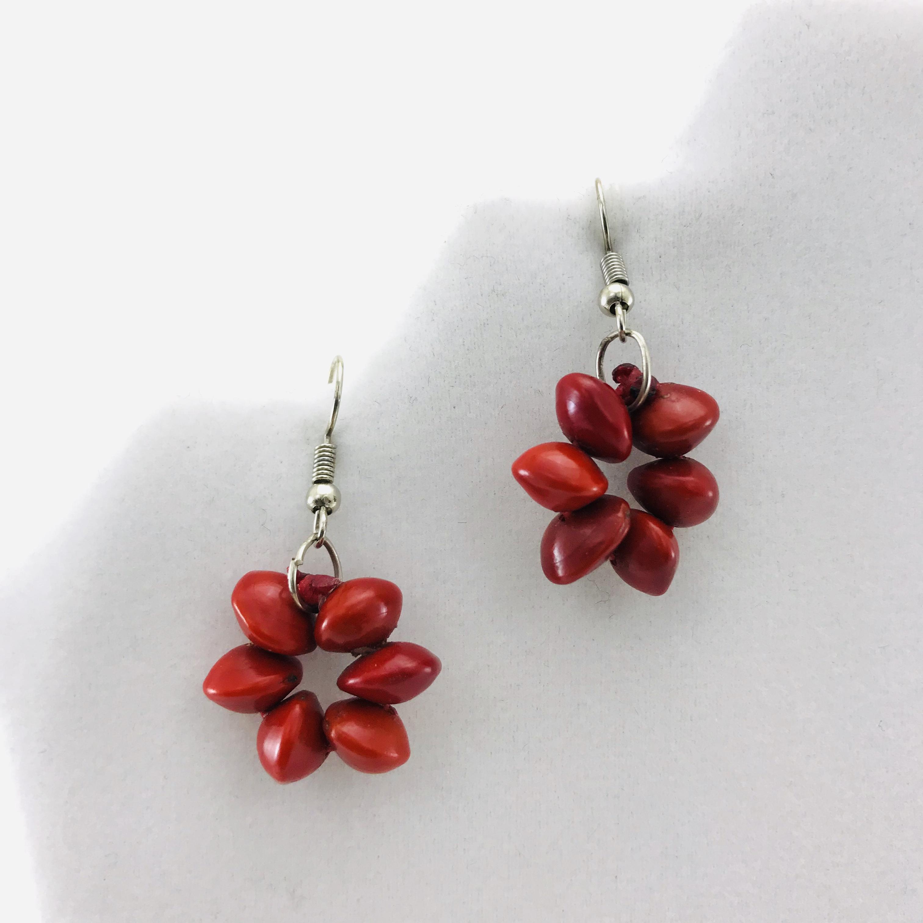 Les Fleurs - Boucles d'oreilles graines naturelles - Rouge