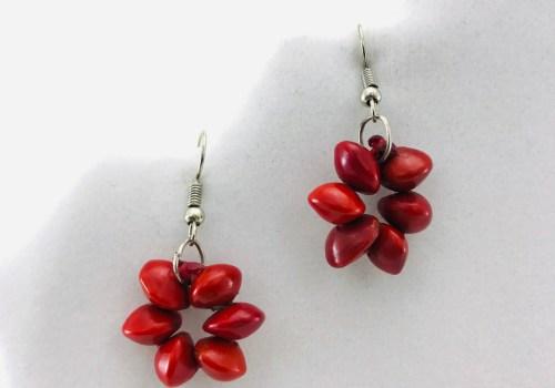 Flower Earrings - Natural Seeds Earrings - Red