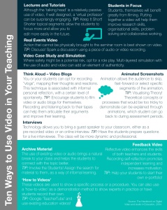 A guide outlining ten different ways you can use video in your teaching.