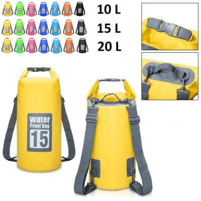 Drybag wasserdichter Seesack, Rollbeutel mit je 2 Tragegurten (10L, 15L, 20 L)