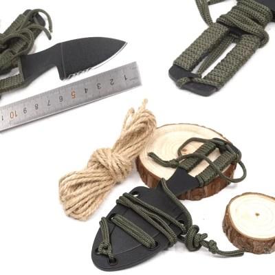 NeckKnife mit Paracord Griff, Taschenmesser mit Kydexscheide in schwarz