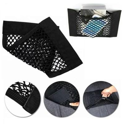 Klett Kofferraumnetz, Auto Netztasche mit Klettverschluss in schwarz