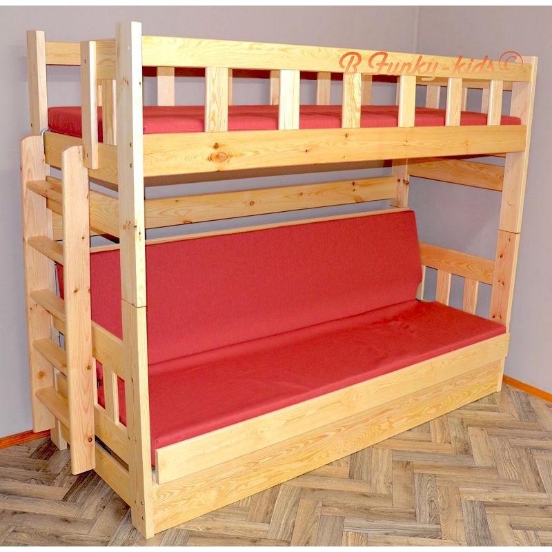 Letto a castello in legno massello Fabio con materassi 180x80 e 180