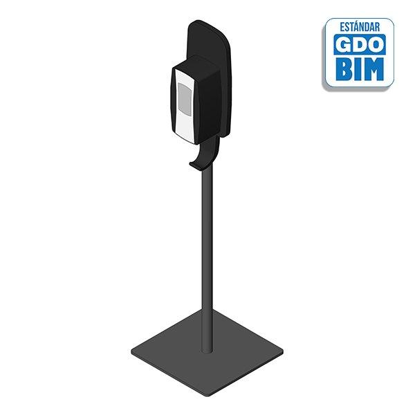 Dispensador vertical con soporte para suelo color negro - Gel desinfección espuma