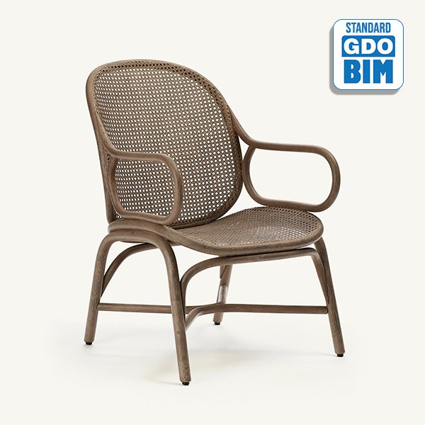 Frames - low backrest armchair with rattan legs
