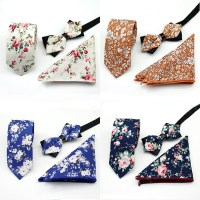 Polyester Arrow Shape Bow Tie Set three piece Square Scarf ...