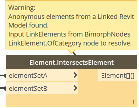 Dynamo BIM Package Element.IntersectsElement non-LinkElement Exception BimorphNodes v2.2