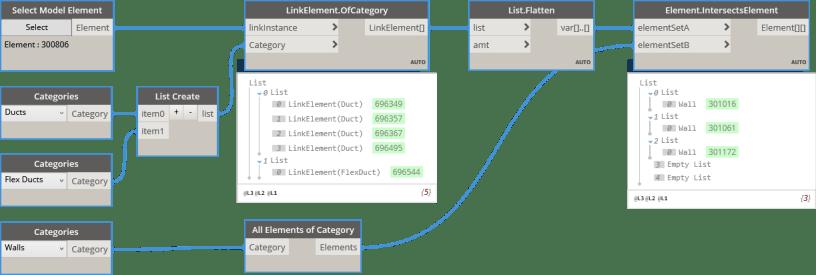 Element.IntersectsElement utlising LinkElements for linked element Clash Detection BimorphNodes v2.2