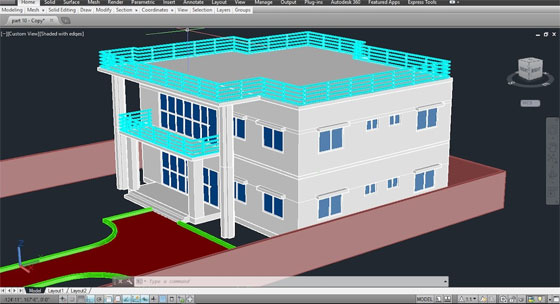 How to apply AutoCAD for transforming a 2D model to 3D form