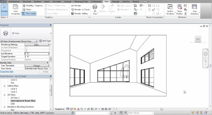 How to generate 3D Interior Views in Revit Architecture