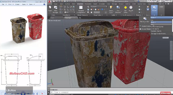 How to create a 3D trash can model in AutoCAD
