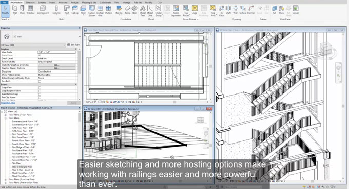 New railing feature and other crucial features in Revit 2018